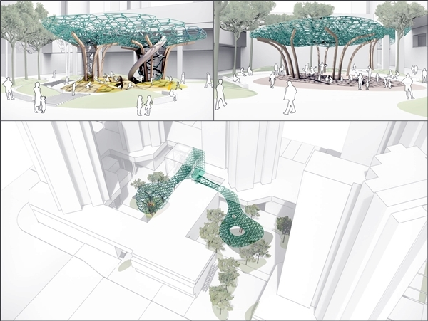 카브사가 설계한 체험형 놀이터, 이벤트광장 조형물(이미지=대우건설)