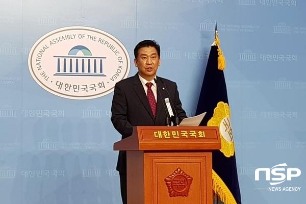 최승재 미래통합당 국회의원이 기자회견에서 발언하고 있다(사진=유정상 기자)
