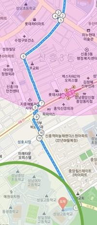 단지~고등학교 지역 도보 최단거리(성남고 기준). 자색 원은 단지 반경 1km 선(이미지=포털 캡쳐)