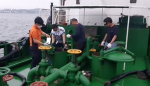 [NSP PHOTO]목포해경, 황 함유량 기준 초과 연료 사용한 선박 적발