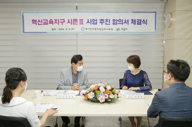 김상돈 의왕시장(왼쪽)과 군포의왕교육지원청 지명숙 교육장이 혁신교육지구 시즌Ⅲ 추진을 위한 합의서를 체결했다. (사진 = 의왕시)