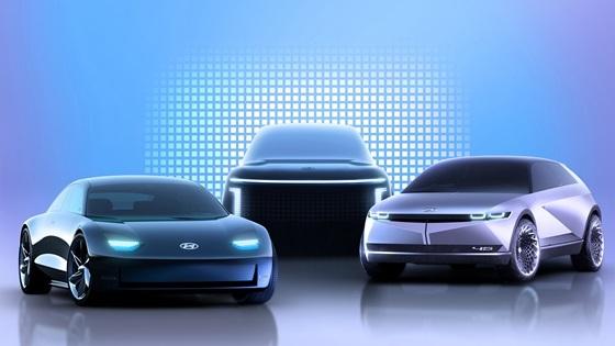 아이오닉 브랜드 제품 라인업 렌더링 이미지(좌측부터 아이오닉 6, 아이오닉 7, 아이오닉 5) (사진 = 현대차)