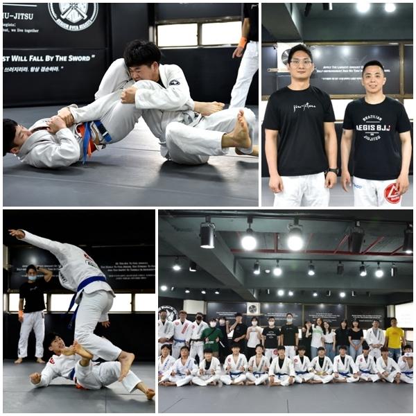 지난 8일 인천 계양구 작전동 본관에서 개최된 아이기스 주짓수 자체 대회가 끝난 후 기념사진을 촬영하고 있다.