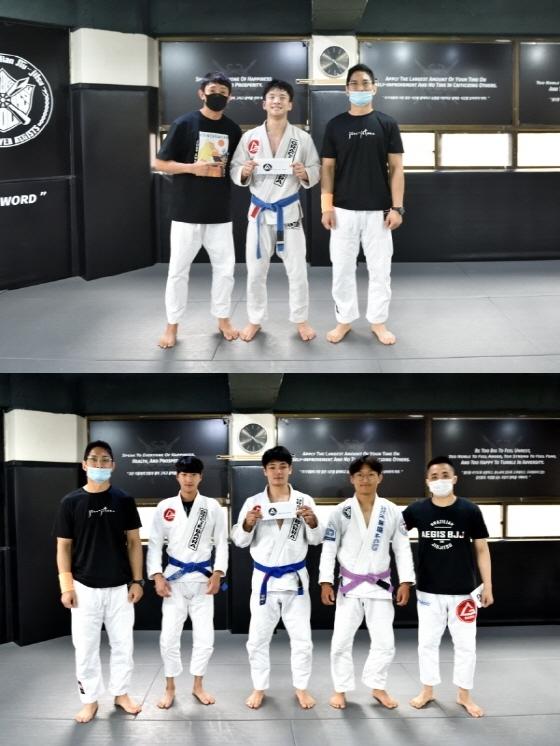 개인전 우승자 윤형주 선수(가운데)가 우승 상금을 수상했고 단체전(아래사진)에서는 송유민, 최기원, 김진우(왼쪽부터) 선수가 우승해 함께 기념사진을 촬영하고 있다.