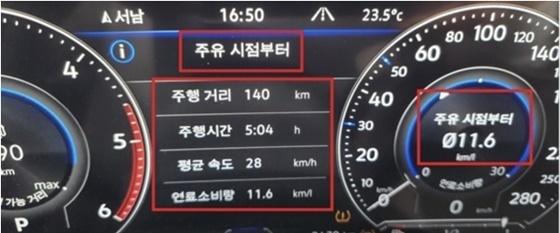 총 140km를 5시간 4분 동안 28km/h 평균속도로 시승한 결과 실제 도심 연비 11.6km/ℓ 기록 (사진 = 강은태 기자)