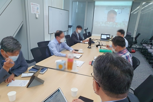 태풍 하이선 대응 관련 영상회의(사진=포스코건설)