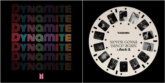 ▲방탄소년단 디지털 싱글 Dynamite 온라인 표지(左)와 샤이니 태민 정규 3집 Never Gonna Dance Again : Act 1 온라인 표지(右) (사진 = 빅히트엔터테인먼트, SM엔터테인먼트 / Dreamus 제공)