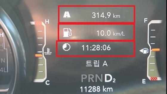 총 314.9km를 11시간28분 6초 동안 시승한 결과 실제 도심 구간 연비 10.km/ℓ 기록 (사진 = 강은태 기자)