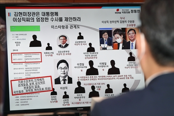 정동만 의원이 공개한 김현미 장관과 이상직 의원 관계도(사진=사진 공동취재단)