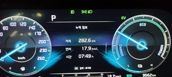 총 282.6km를 7시간 49분 동안 시승한 결과 실제 복합연비 17.9km/ℓ 기록 (사진 = 강은태 기자)