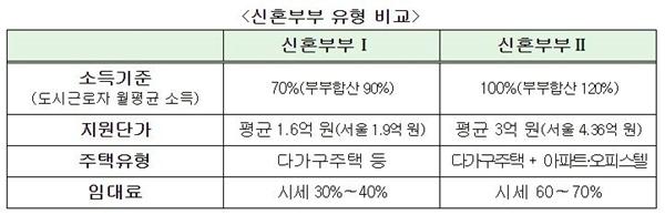 신혼부부 유형 비교(자료=국토부)