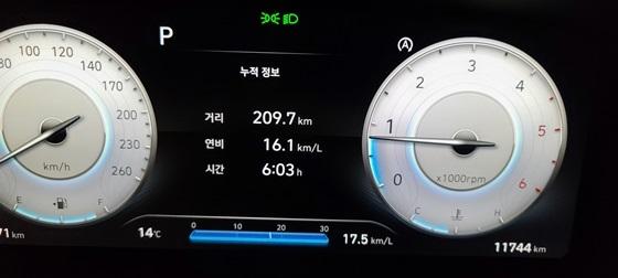 총 209.7km 6시간 3분 동안 시승한 결과 더 뉴 싼타페 2.2D 4WD 캘리그래피 7인승 모델의 실제 연비 16.1km/ℓ 기록(맨 아래 17.5km/ℓ 연비 기록은 마지막 차량 시동을 건 이후의 구간 연비 기록) (사진 = 강은태 기자)