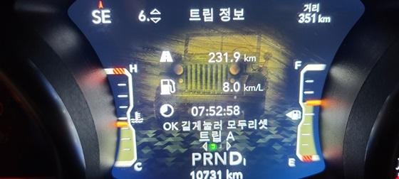 총 231.9km를 7시간 52분 58초 동안 시승한 결과 지프 올 뉴 지프 글래디에이터의 실제 도심 연비 8.0km/L 기록 (사진 = 강은태 기자)