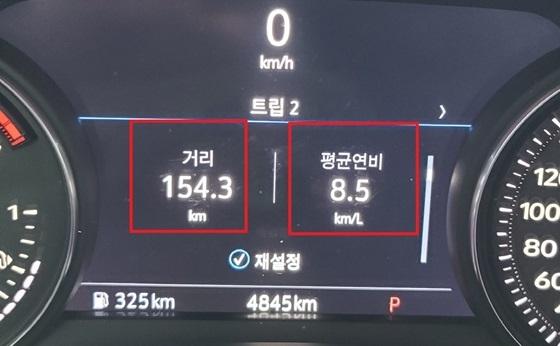 총 154.3km 시내도로 시승결과 캐딜락 CT4 스포츠 트림의 실제 시내도로 연비 8.5km/ℓ 기록 (사진 = 강은태 기자)