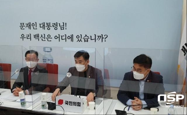 최승재 국회의원이 국민의힘 원내대책회의에서 발언하고 있다. (사진 = 강은태 기자)