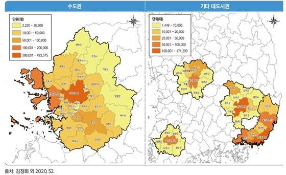 2040년 기준 수소전기차 지역별 보급전망 결과 (사진 = 국토연구원)