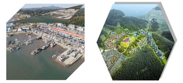대명항 전경(왼쪽), 애기봉 배후관광단지 조감도. (사진 = 김포시)