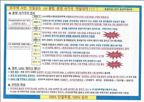 판교 봇들 마을 3단지 임차인 투쟁본부의 선전물 내용