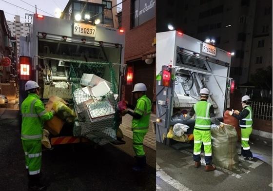 폐 아이스박스(좌)와 새벽에 폐기물을 수거(우)하는 환경미화원 작업사진 (사진 = 양천구)