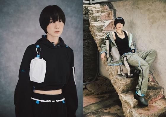 배우 배두나가 자동차 소재를 업사이클링한 의상을 입고 포즈를 취하고 있는 모습 (사진 = 현대차)